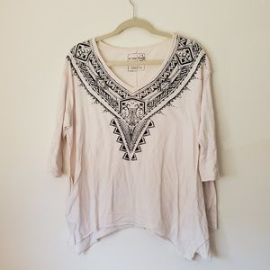 We the Free Cream Tribal Oversized Top Size Small